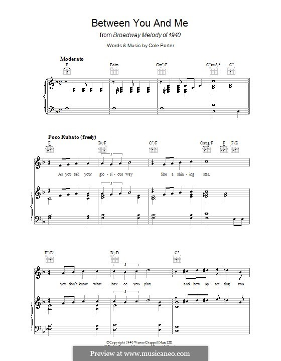 Between You and Me: For voice and piano (or guitar) by Cole Porter