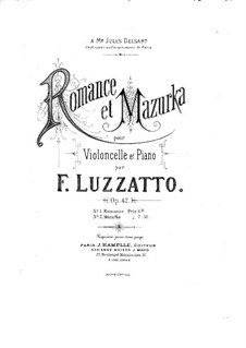 Romance for Cello and Piano, Op.42: Romance for Cello and Piano by Fortunato Luzzatto