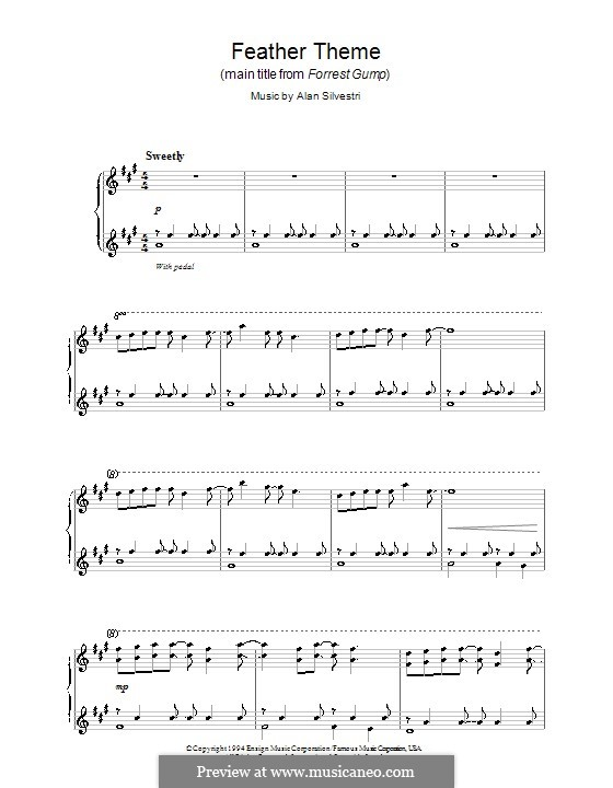 Forrest Gump Suite (Theme): For piano (high quality sheet music) by Alan Silvestri