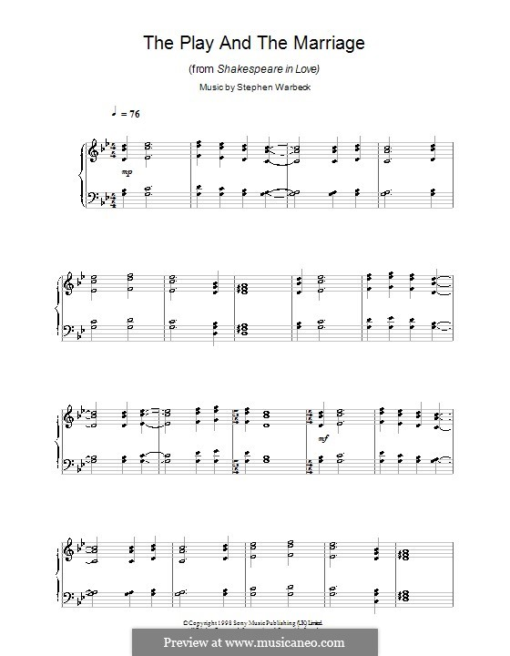 The Play and the Marriage (from Shakespeare in Love): For piano by Stephen Warbeck