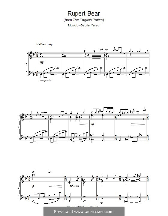 Rupert Bear (from The English Patient): For piano by Gabriel Yared