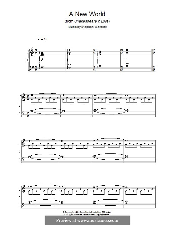 A New World (from Shakespeare in Love): For piano by Stephen Warbeck