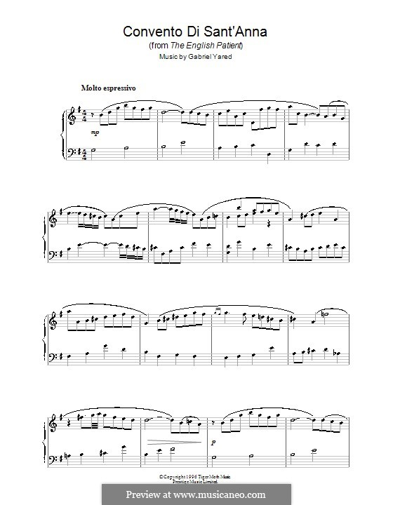 Convento di Sant'anna (from The English Patient): For piano by Gabriel Yared