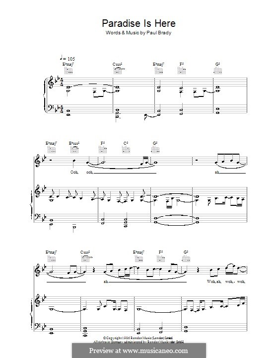 Paradise Is Here: For voice and piano (or guitar) by Paul Brady