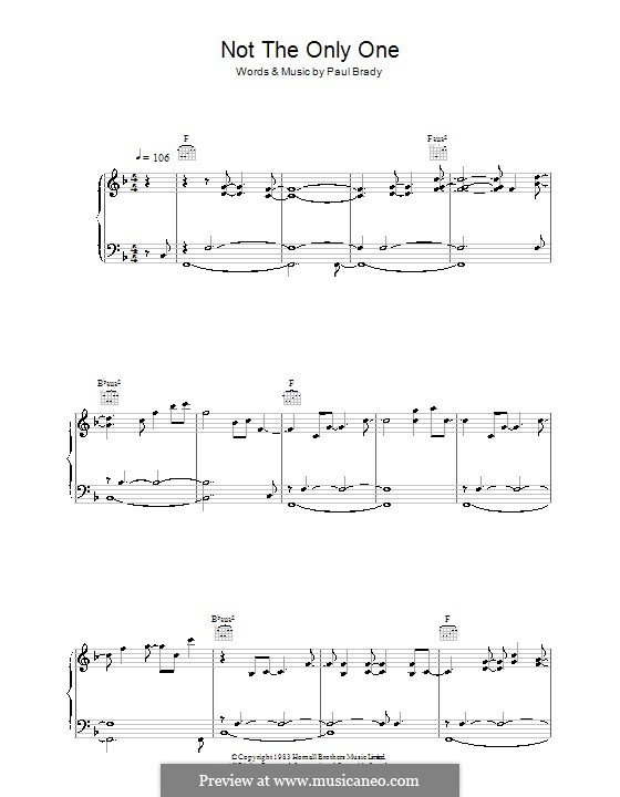 Not the Only One: For voice and piano (or guitar) by Paul Brady