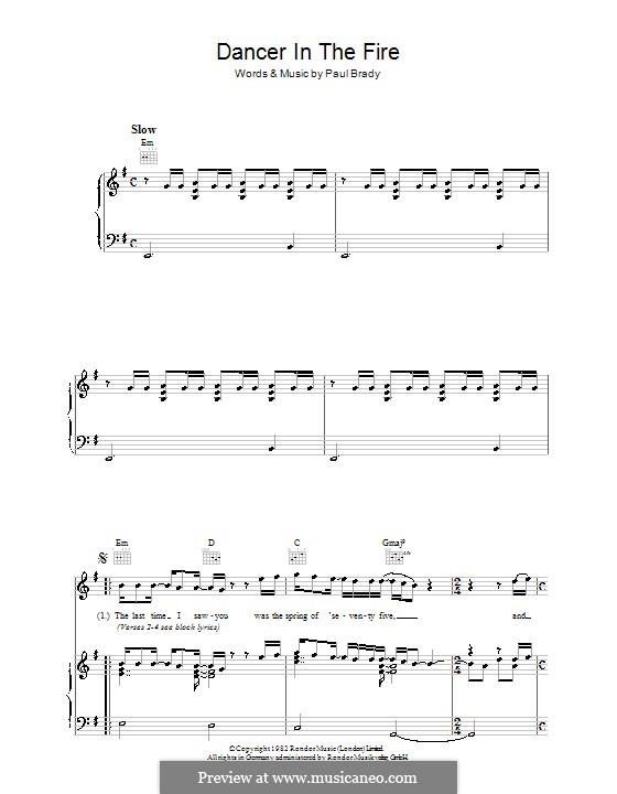 Dancer in the Fire: For voice and piano (or guitar) by Paul Brady