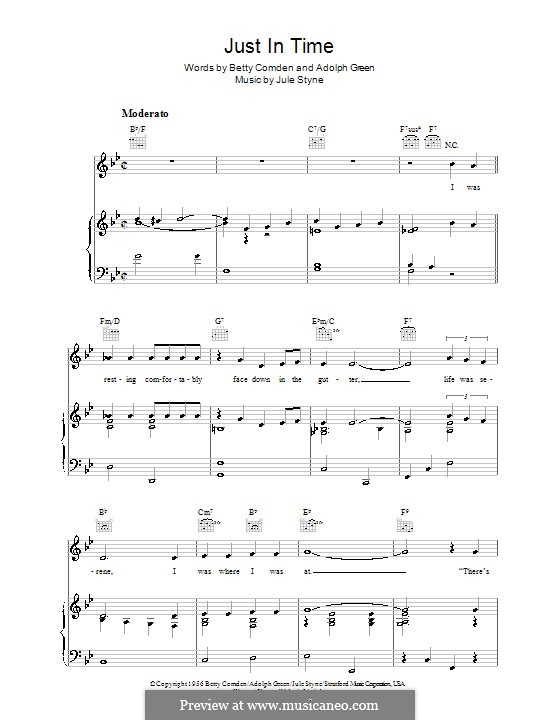Just in Time (Frank Sinatra): For voice and piano (or guitar) by Jule Styne