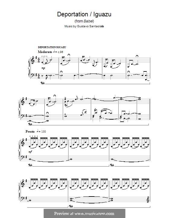 Deportation/Iguazu (from Babel): For piano by Gustavo Santaolalla