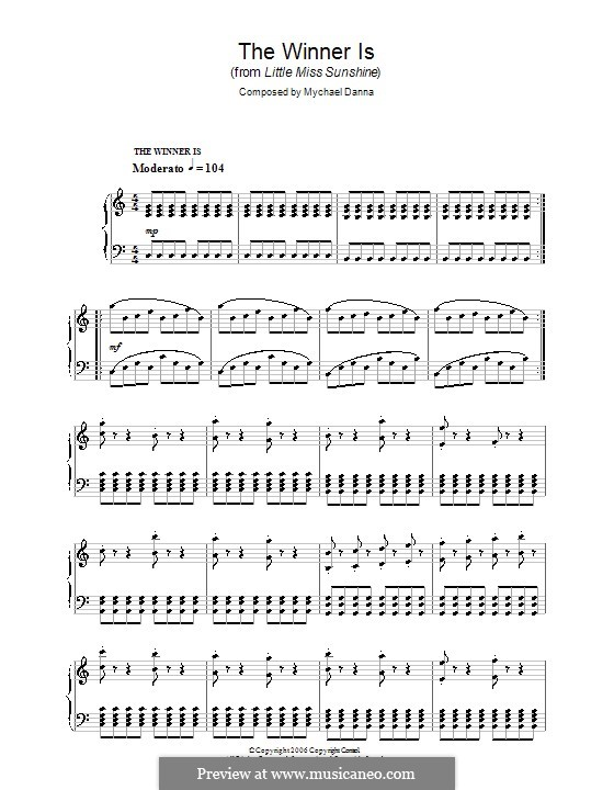 The Winner Is (from Little Miss Sunshine): For piano by Mychael Danna