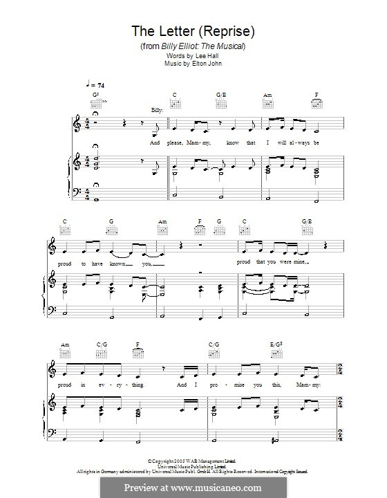 The Letter. Reprise: For voice and piano (or guitar) by Elton John