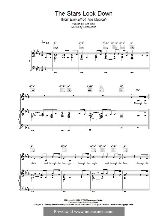The Stars Look Down: For voice and piano (or guitar) by Elton John