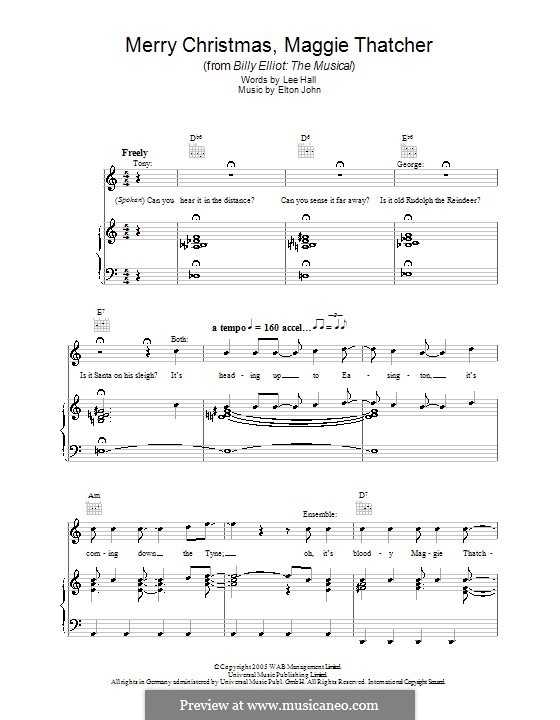 Merry Christmas Maggie Thatcher: For voice and piano (or guitar) by Elton John