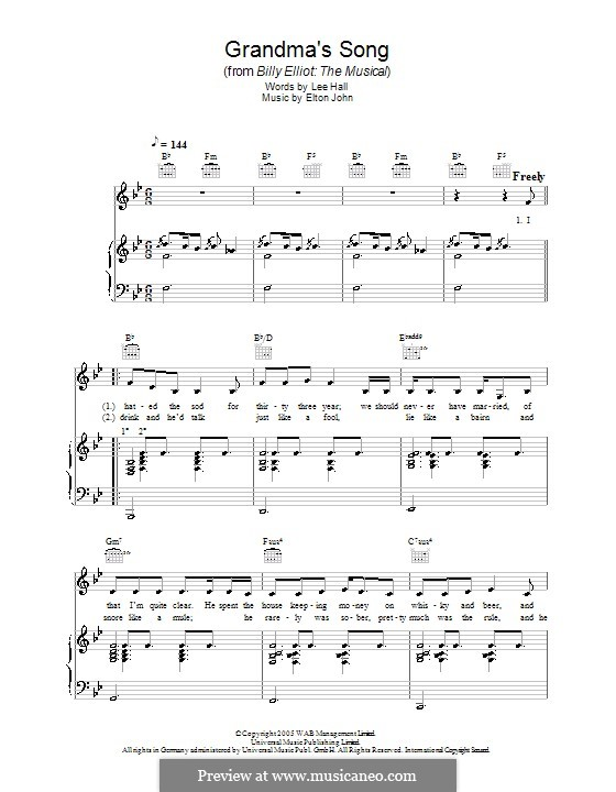 Grandma's Song: For voice and piano (or guitar) by Elton John
