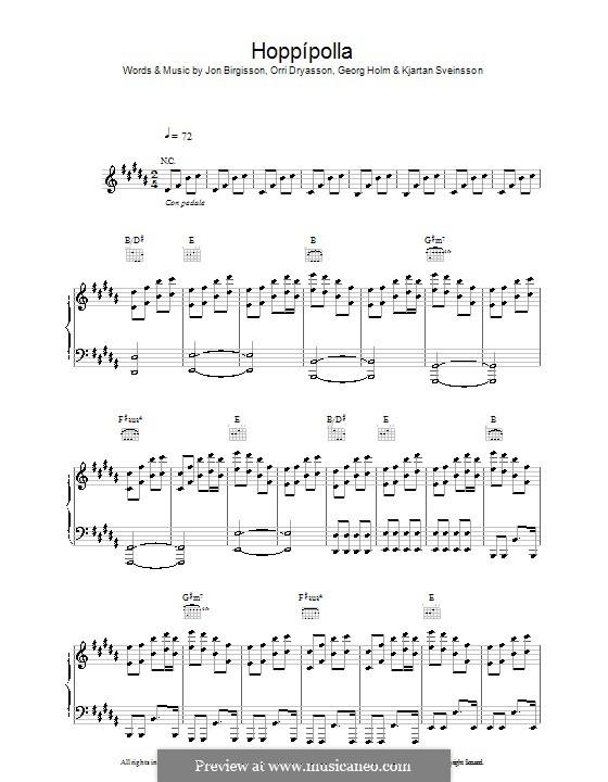 Hoppipolla: For voice and piano (or guitar) by Georg Holm, Jón Thor Birgisson, Kjartan Sveinsson, Orri Dryasson