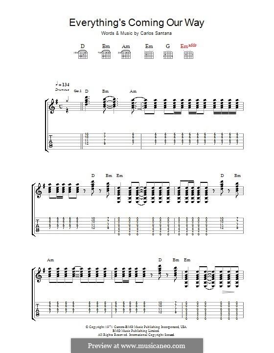 Everything's Coming Our Way (Santana): For guitar with tab by Carlos Santana