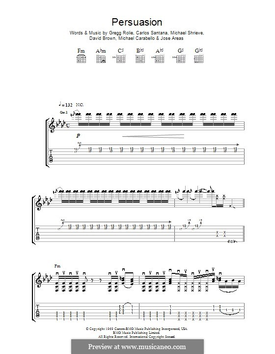 Persuasion (Santana): For guitar with tab by David Brown, Gregg Rolie, Jose Areas, Michael Carabello, Michael Shrieve