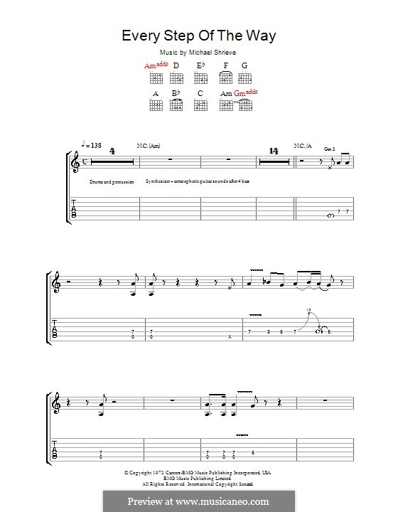Every Step of the Way (Santana): For guitar with tab by Michael Shrieve