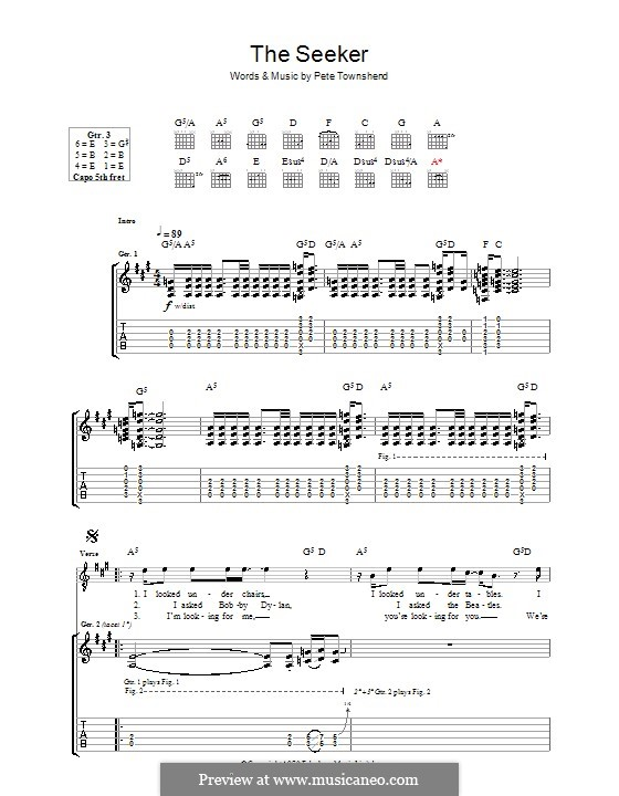 The Seeker The Who By P Townshend Sheet Music On Musicaneo