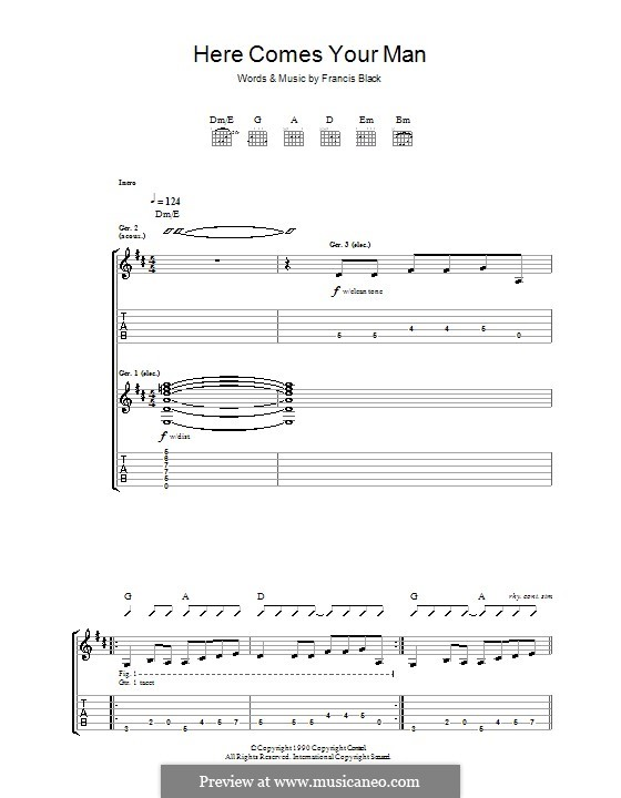 Here Comes Your Man (The Pixies): For guitar with tab by Francis Black