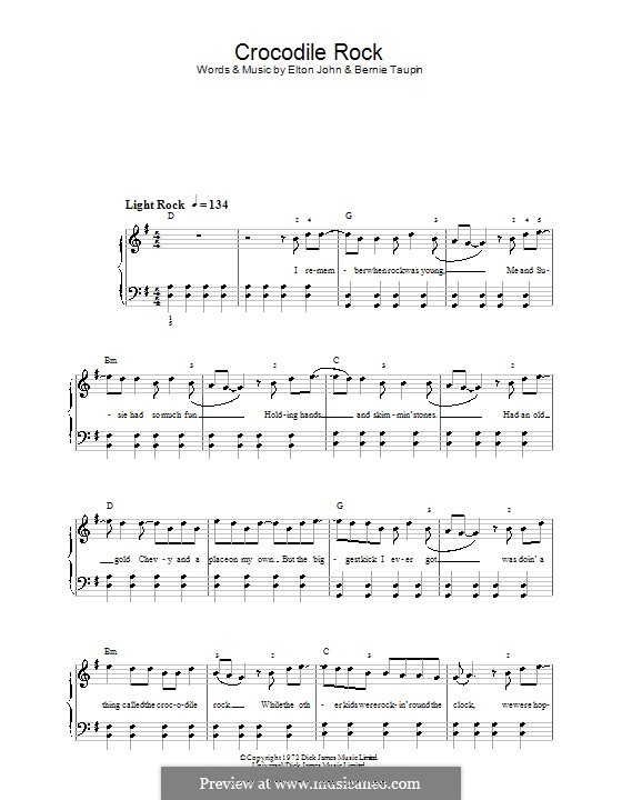 Crocodile Rock: For easy piano by Elton John