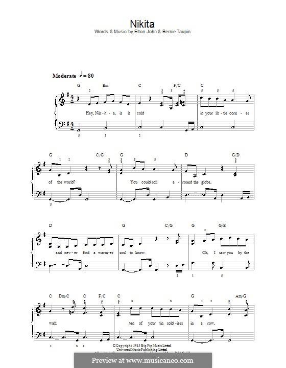 Nikita: For easy piano by Elton John