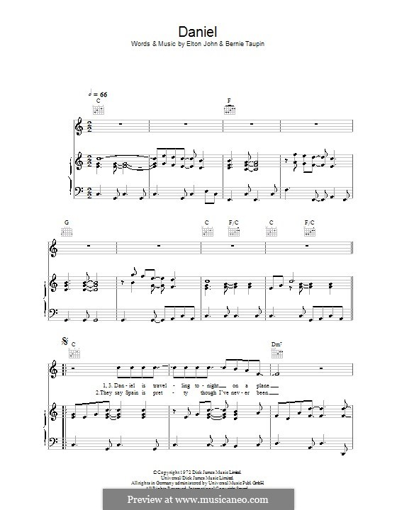 Daniel: For voice and piano (or guitar) by Elton John