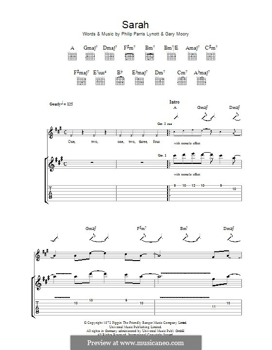 Sarah (Thin Lizzy): For guitar with tab by Gary Moore, Phil Lynott