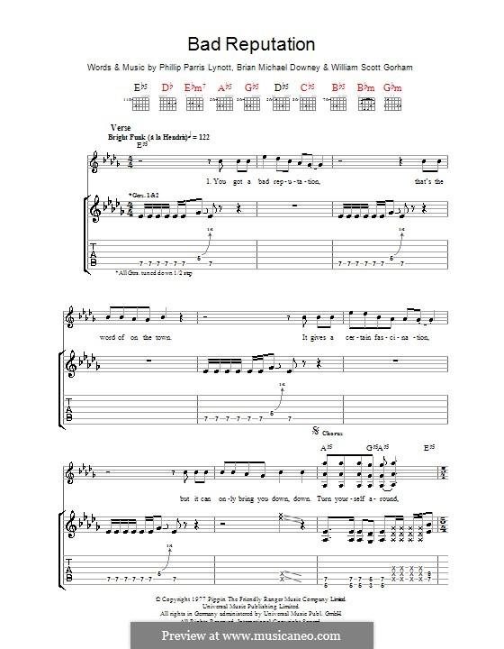 Bad Reputation (Thin Lizzy): For guitar with tab by Brian Downey, Phil Lynott, Scott Gorham