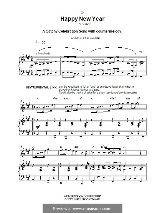 Happy New Year by A. Hedger - sheet music on MusicaNeo