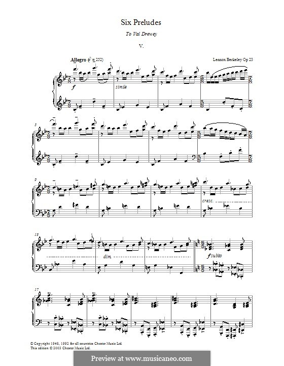 Six Preludes: Prelude No.5 by Lennox Berkeley