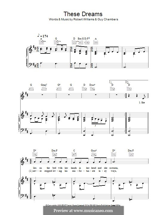 These Dreams: For voice and piano (or guitar) by Guy Chambers, Robbie Williams