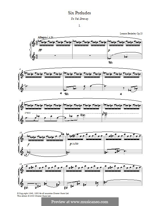Six Preludes: Prelude No.1 by Lennox Berkeley