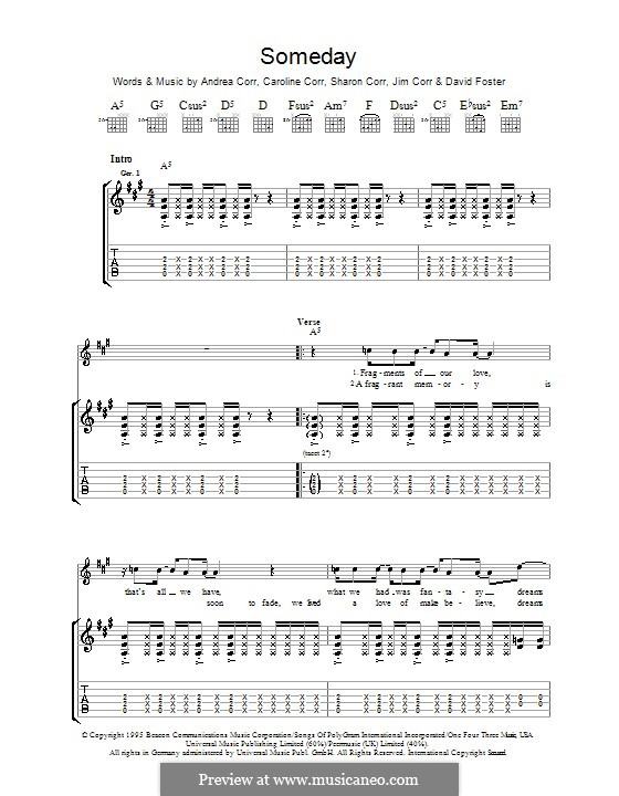 Someday (The Corrs): For guitar with tab by Andrea Corr, Caroline Corr, David Foster, Jim Corr, Sharon Corr