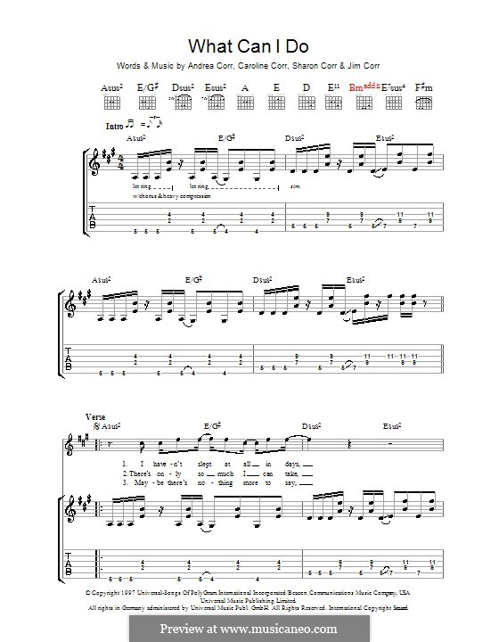 What Can I Do (The Corrs): For guitar with tab by Andrea Corr, Caroline Corr, Jim Corr, Sharon Corr