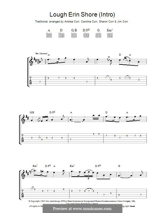 Lough Erin Shore: For guitar with tab by folklore