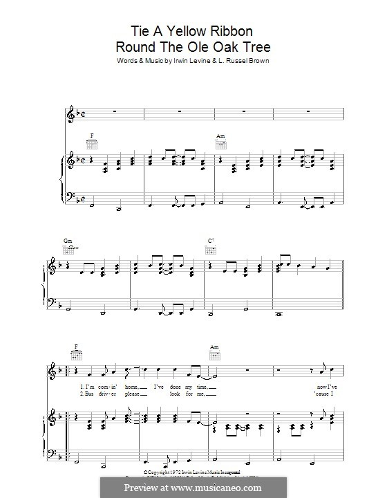 Tie a Yellow Ribbon Round the Ole Oak Tree (Tony Orlando): For voice and piano (or guitar) by Irwin Levine, L. Russell Brown