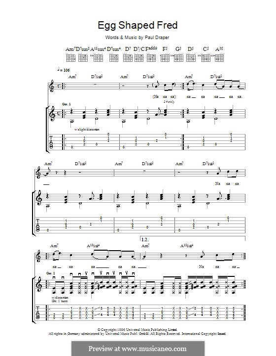 Egg Shaped Fred (Mansun): For guitar with tab by Paul Draper