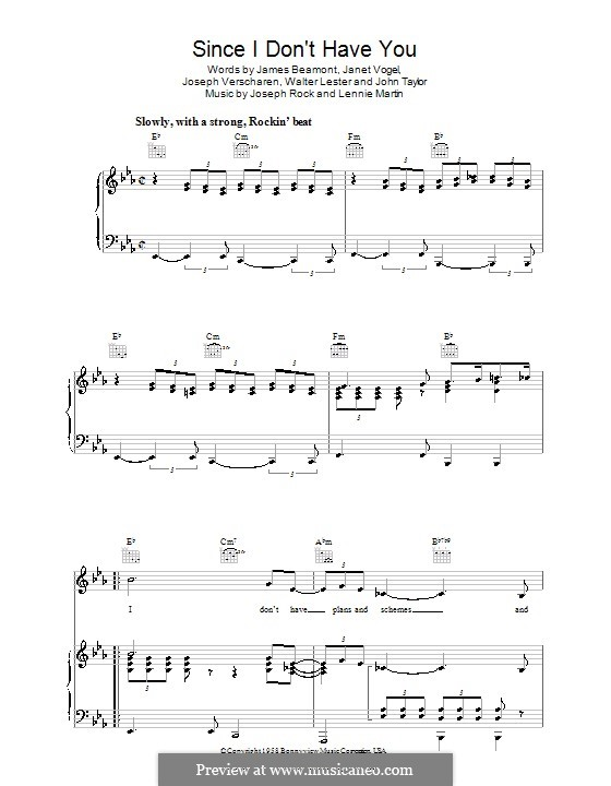 Since I Don't Have You: For voice and piano (or guitar) by Joseph Rock, John Taylor, Lennie Martin, Walter Lester