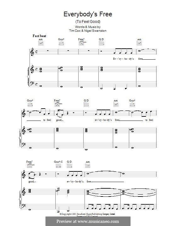 Everybody's Free (To Feel Good): For voice and piano or guitar (Rozalla) by Nigel Swanston, Tim Cox