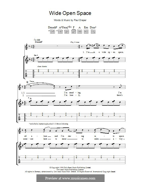 Wide Open Space (Mansun): For guitar with tab by Paul Draper