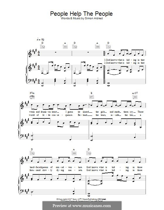 People Help the People: For voice and piano or guitar (Cherry Ghost) by Simon Aldred