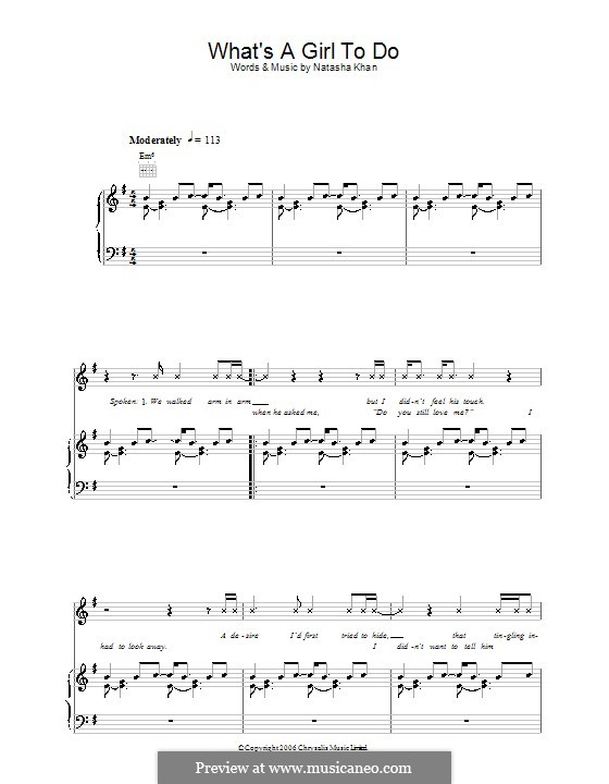What's a Girl To Do (Bat for Lashes): For voice and piano (or guitar) by Natasha Khan