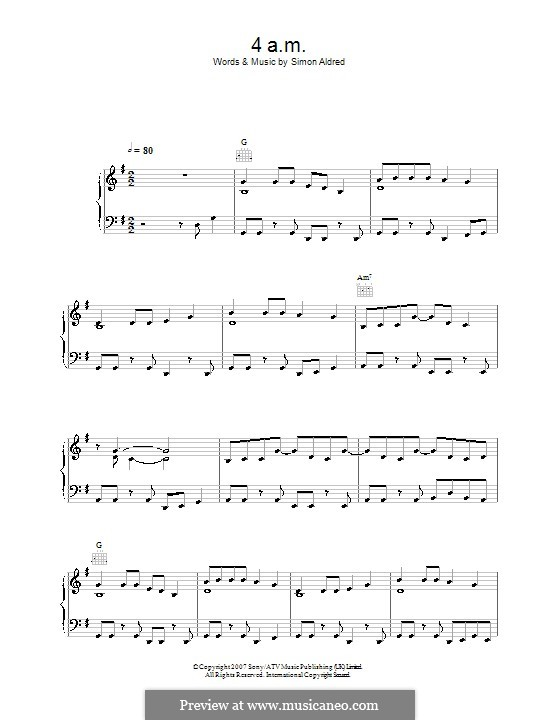 4am (Cherry Ghost): For voice and piano (or guitar) by Simon Aldred