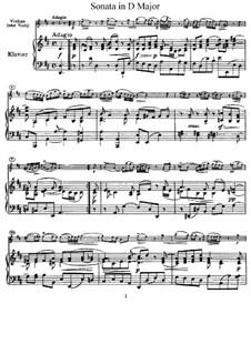 Sonata for Violin and Basso Continuo in D Major: Arrangement for violin and piano – score, solo part by Pietro Nardini