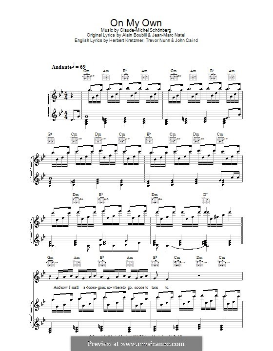 On My Own: For voice and piano (or guitar) by Claude-Michel Schönberg