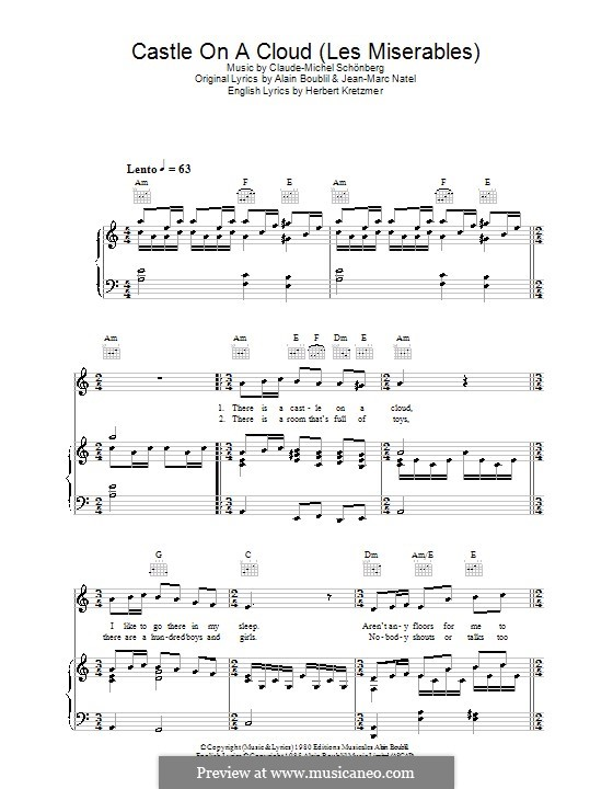 Castle on a Cloud : For voice and piano (or guitar) by Claude-Michel Schönberg