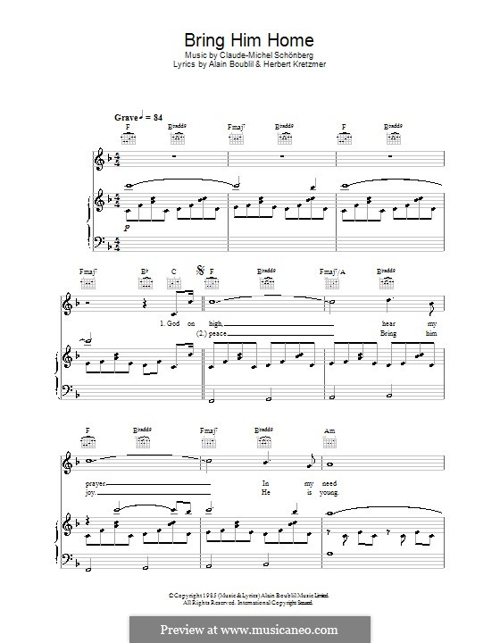 Bring Him Home: For voice and piano (or guitar) by Claude-Michel Schönberg