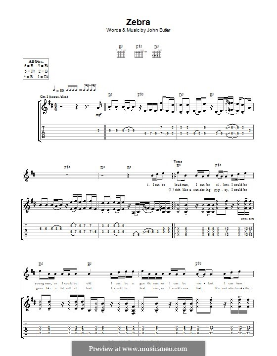 Zebra: For guitar with tab by John Butler