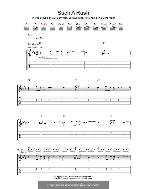 Such a Rush (Coldplay): For guitar with tab by Chris Martin, Guy Berryman, Jonny Buckland, Will Champion