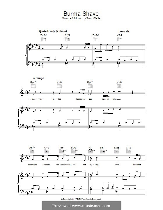 Burma Shave For Voice And Piano Or Guitar By Tom Waits